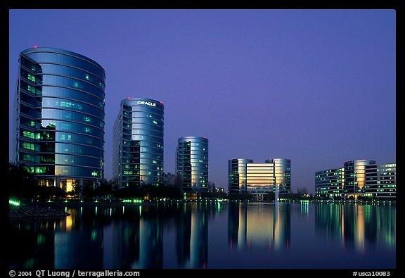 Oracle Headquarters at dusk. Redwood City,  California, USA