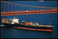 Container ship cruising under the Golden Gate Bridge. San Francisco, California, USA