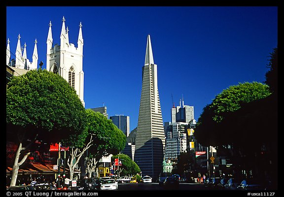 Cathedral and Transamerica Pyramid, North Beach, afternoon. San Francisco, California, USA (color)