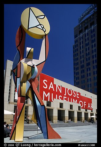 Sculpture and San Jose Museum of Art. San Jose, California, USA (color)