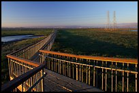 Boardwalk leading to edge of the Bay, Palo Alto Baylands. Palo Alto,  California, USA (color)