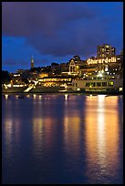 Lights of Ghirardelli Square sign reflected in Aquatic Park. San Francisco, California, USA ( color)