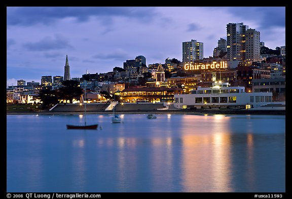 Aquatic Park, Ghirardelli Square, and skyline at dusk. San Francisco, California, USA (color)