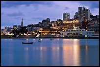 Aquatic Park, Ghirardelli Square, and skyline at dusk. San Francisco, California, USA ( color)