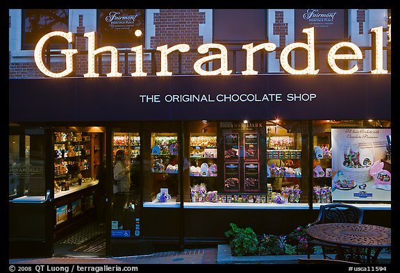 Ghirardelli chocolate store at dusk, Ghirardelli Square. San Francisco, California, USA (color)