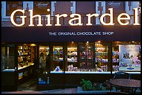 Ghirardelli chocolate store at dusk, Ghirardelli Square. San Francisco, California, USA ( color)