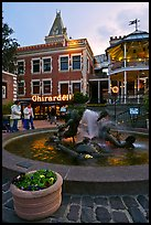 Fountain at dusk, Ghirardelli Square. San Francisco, California, USA (color)