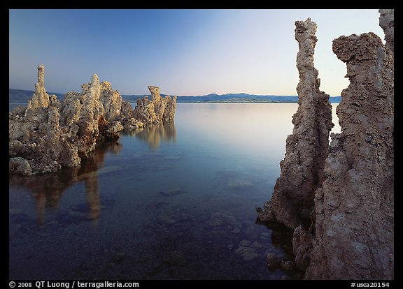 Tufa spires and Mono Lake at dusk. Mono Lake, California, USA (color)