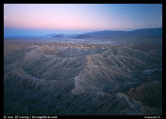Badlands at dusk, Font Point. California, USA (color)
