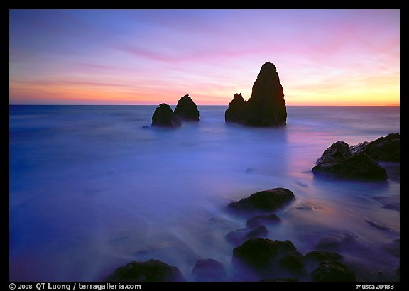 Seastacks and rocks, sunset, Rodeo Beach. California, USA (color)