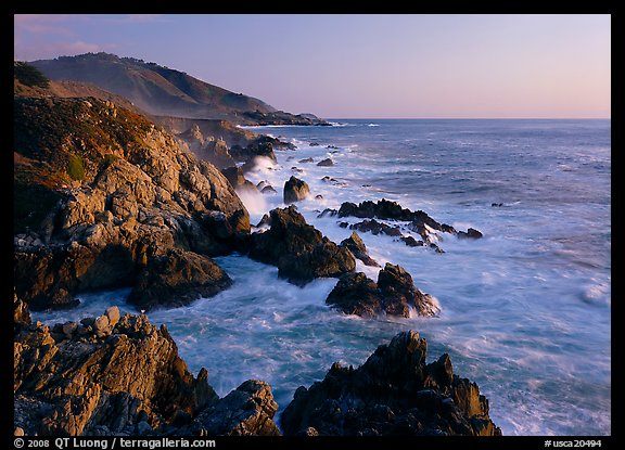 Surf and rocks at sunset, near Rocky Cny Bridge, Garapata State Park. Big Sur, California, USA (color)