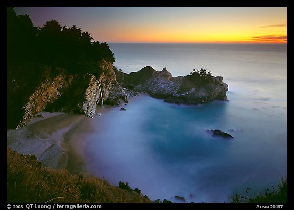 Mc Way Cove and waterfall at sunset. California, USA (color)
