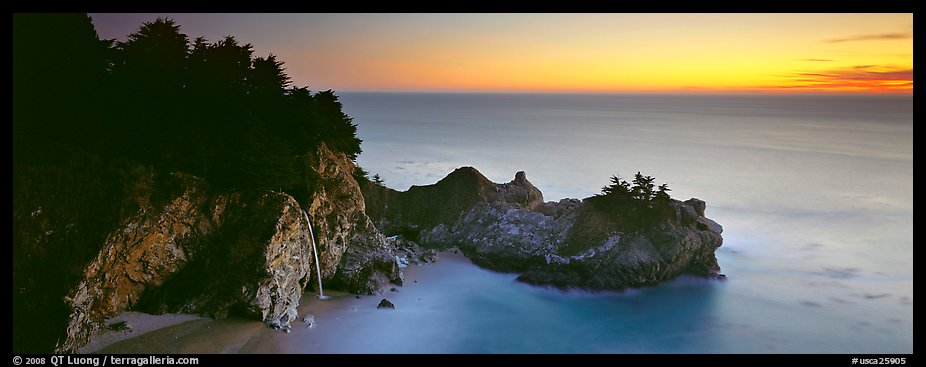 Seascape at sunset with coastal waterfall. Big Sur, California, USA (color)