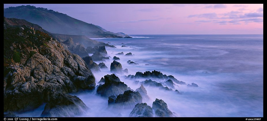Seascape with pastel colors, rocks, and surf. Big Sur, California, USA (color)