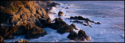 Rocky seashore, Garapata. Big Sur, California, USA (Panoramic color)