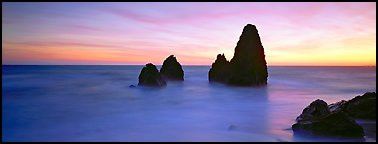 Ethereal seascape with seastacks. California, USA (Panoramic color)