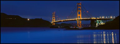 Golden Gate Bridge, blue hour. San Francisco, California, USA (Panoramic color)