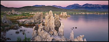 Mono Lake Tufa and Sierra Nevada at dawn. Mono Lake, California, USA (Panoramic color)
