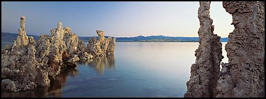 Lake scenery with Tufa towers. Mono Lake, California, USA (Panoramic color)