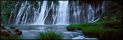 Wide Burney falls. California, USA (Panoramic color)