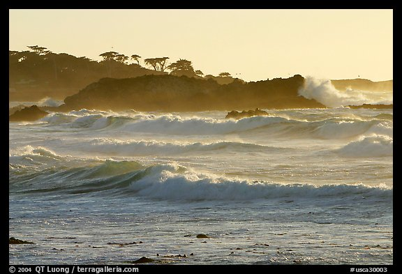 Waves, late afternoon, seventeen-mile drive. Pebble Beach, California, USA (color)