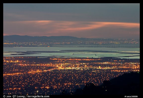 South end of the Bay with city lights at dusk. San Jose, California, USA (color)