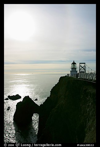Point Bonita Lighthouse and sun, afternoon. California, USA (color)