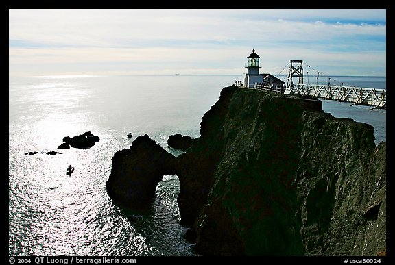 Point Bonita Lighthouse, afternoon. California, USA (color)