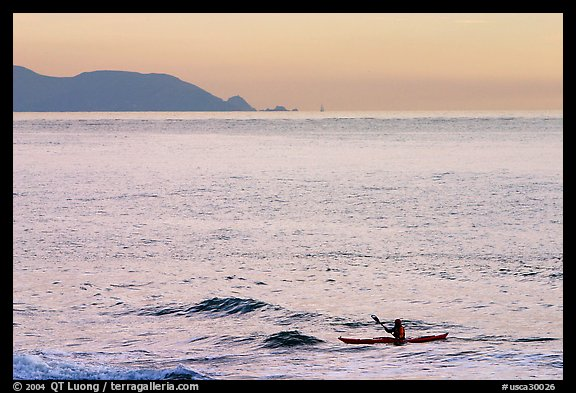 Sea kayaker, Rodeo Beach, sunset. California, USA (color)