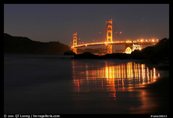 Golden Gate Bridge At Night From Baker Beach San Francisco California Usa