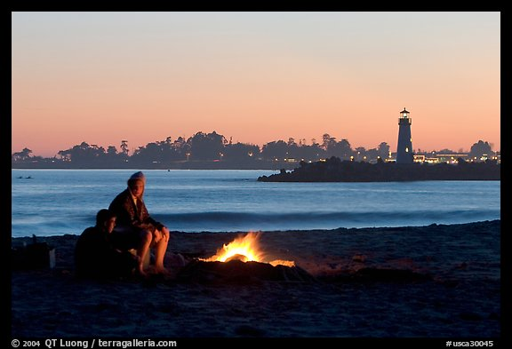 Camp Fire on the beach at sunset. Santa Cruz, California, USA (color)