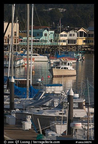 Boats and Fisherman's Wharf, afternoon, Monterey. Monterey, California, USA (color)