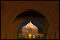 Quad and Memorial church at night. Stanford University, California, USA ( color)