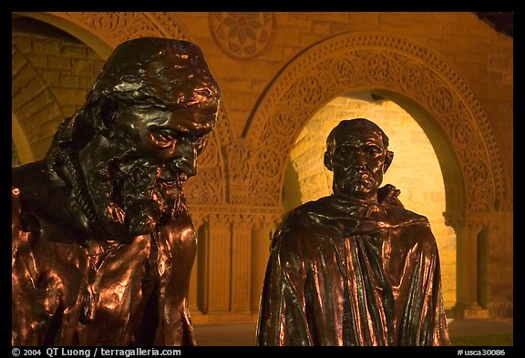 Burghers of Calais by Rodin in Quad by night. Stanford University, California, USA (color)