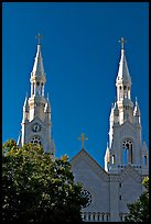 Towers of St Peter and Paul Church, 1922-1939, Washington Square, late afternoon. San Francisco, California, USA ( color)