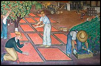 Harvest scene depicted in a fresco inside Coit Tower. San Francisco, California, USA