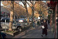 The main street of Palo Alto, University Avenue, in fall. Palo Alto,  California, USA (color)