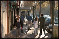 University avenue in fall, late afternoon. Palo Alto,  California, USA (color)