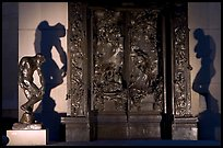 Rodin's monumental Gates of Hell at night. Stanford University, California, USA (color)