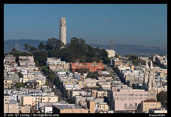 Coit Tower on Telegraph Hill, afternoon. San Francisco, California, USA