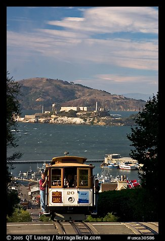 Cable car and Alcatraz Island, late afternoon. San Francisco, California, USA