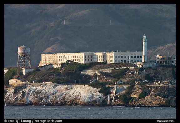 Prison building on Alcatraz Island, late afternoon. San Francisco, California, USA (color)