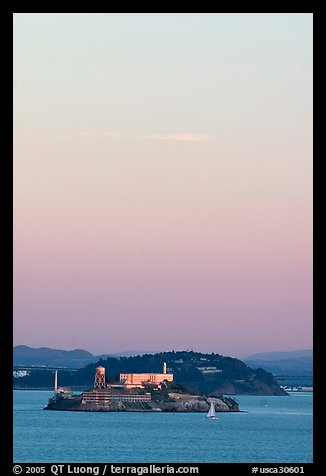 Alcatraz and Yerba Buena Islands, sunset. San Francisco, California, USA (color)