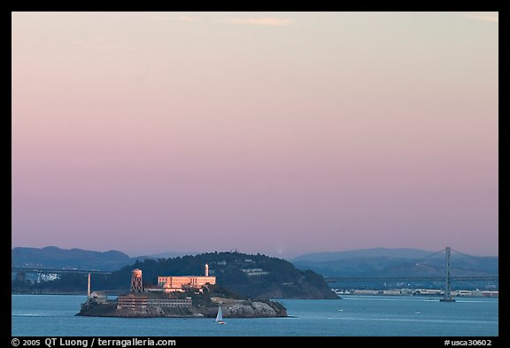 Alcatraz Island,  Yerba Buena Island, and Bay Bridge, sunset. San Francisco, California, USA (color)