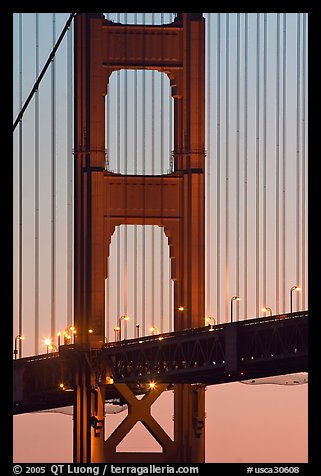 Golden Gate Bridge pillar,  sunset. San Francisco, California, USA (color)