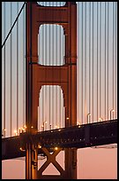 Golden Gate Bridge pillar,  sunset. San Francisco, California, USA ( color)