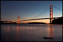 Golden Gate and Bridge, sunset. San Francisco, California, USA (color)