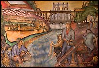 Depression-area fresco showing a dam. San Francisco, California, USA (color)