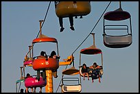 Sky glider chairs, Beach Boardwalk. Santa Cruz, California, USA (color)