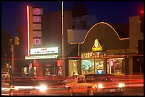 El Camino Real at night, with movie theater and Menlo Clock Works. Menlo Park,  California, USA